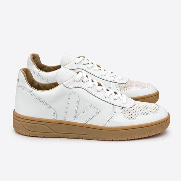 Veja Mens V-10 Leather White natural Sole