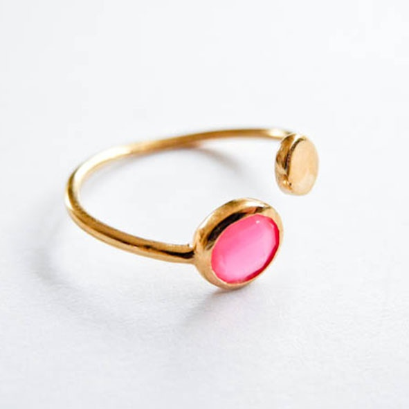 Ring Double Point Pink Gold