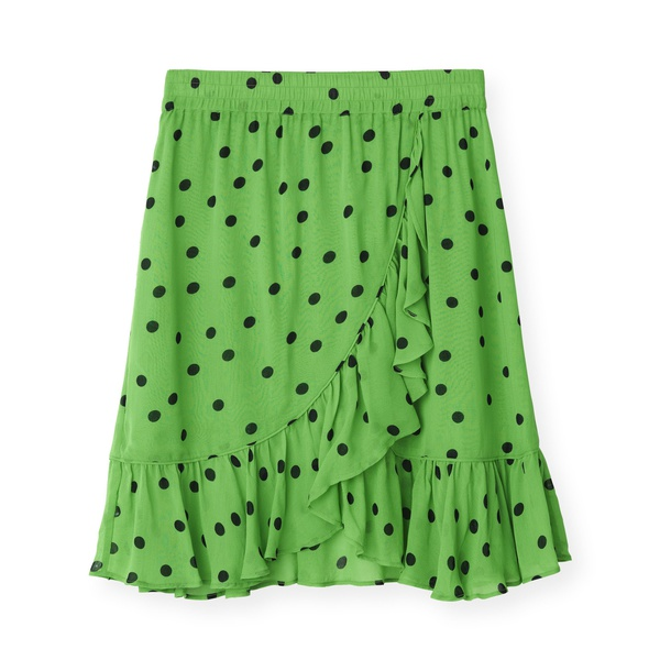 Dainty Georgette Skirt Classic Green Black Dots
