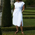 Side Belted Shirt Dress White