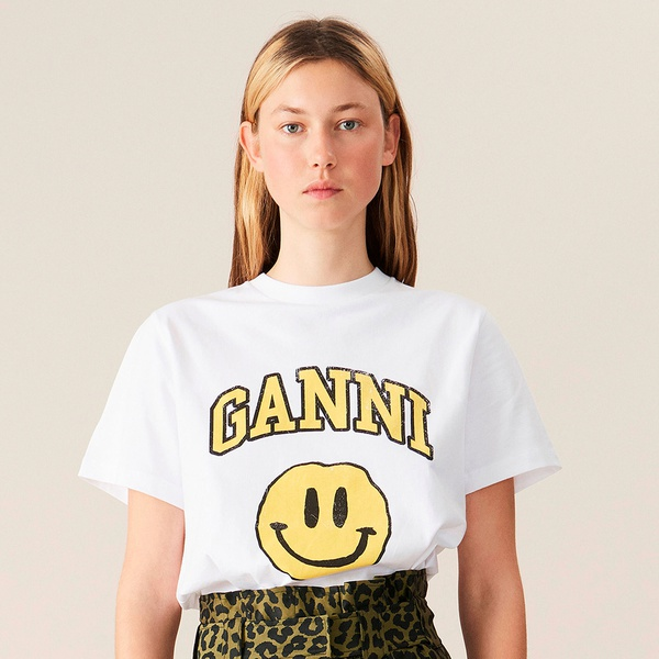 T-Shirt Smiley Yellow Bright White