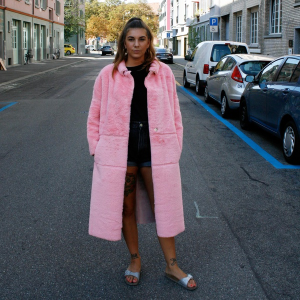 Faux fur belted coat pink