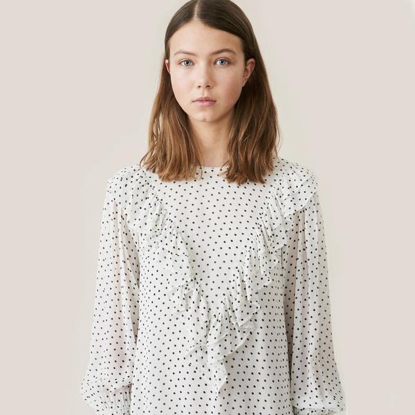 Rometty Georgette Mini Dress Egret White Black Polka Dot