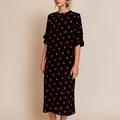 Ganni Barra Crepe Black Red Polka Dot Dress