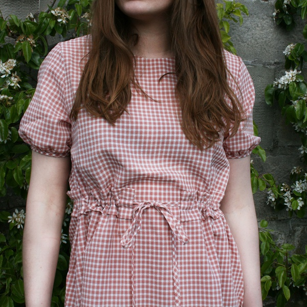 Check Belted Dress Pink
