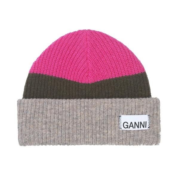 Ganni Knit Hat Multicolor Hot Pink