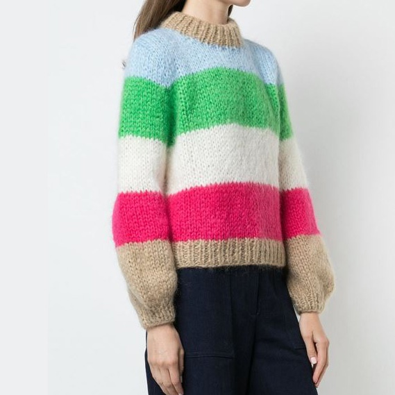 The Julliard Mohair Striped Pullover Block Colour