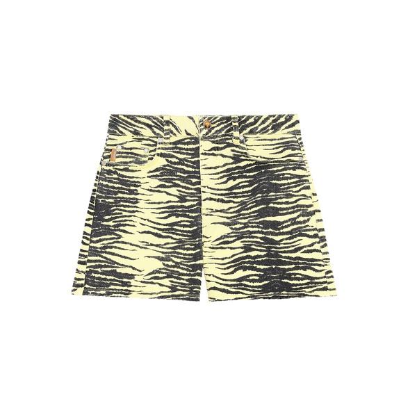 Printed Denim Shorts Pale Banana