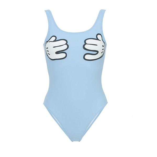 Zoe Karssen Swimsuit Cartoon Hands Morning Blue