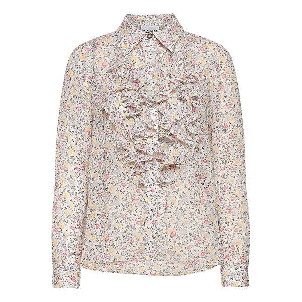 Printed Georgette Shirt Egret