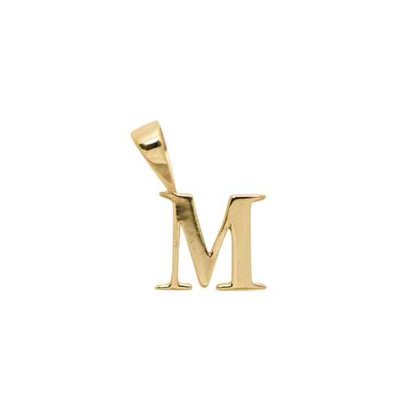 Initial Necklace Charm M Silver Goldplated