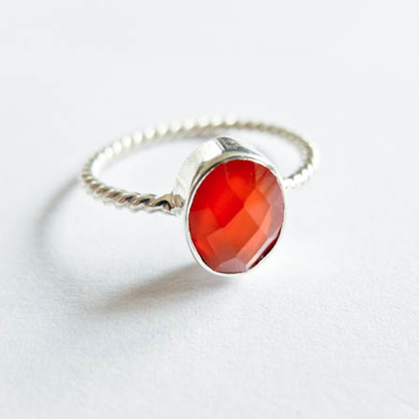 Ring Karneol Orange Silber