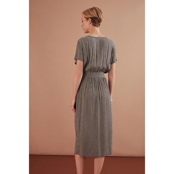 Midi-Kleid Rosmerta Ecru/Grigio