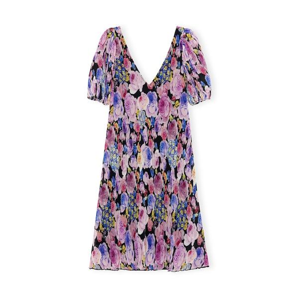 Pleated Georgette Midi Dress Multicolor