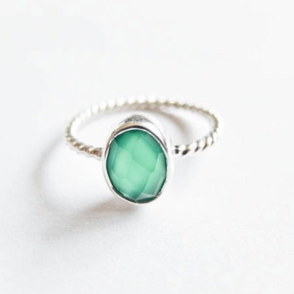 Onyx Silber Green Ring