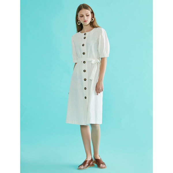 Button Belted Dress Ivory