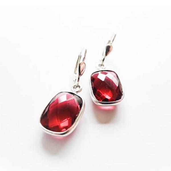 Ohrringe Silber Rot