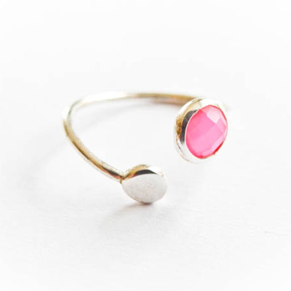 Ring Double Point Pink Silber