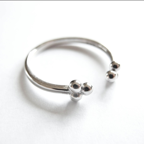 Ring PomPom Silber