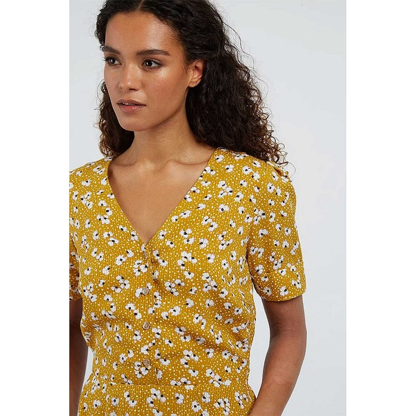 Avril Dress Petal Dot Mustard
