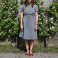 Check Belted Dress Navy