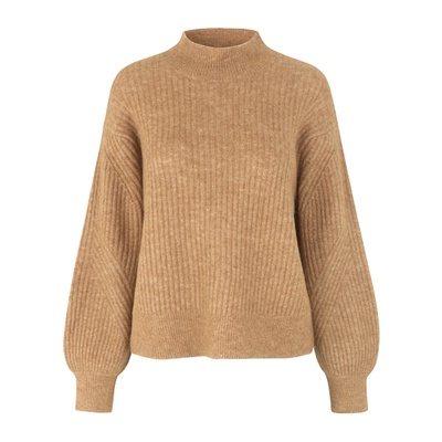 Galia Knit T-Neck Bone Brown