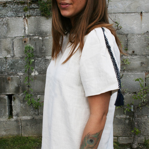 Embroidery Tassel Dress Beige